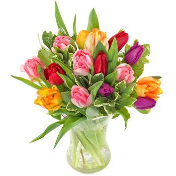 Kleurrijk tulpen boeket