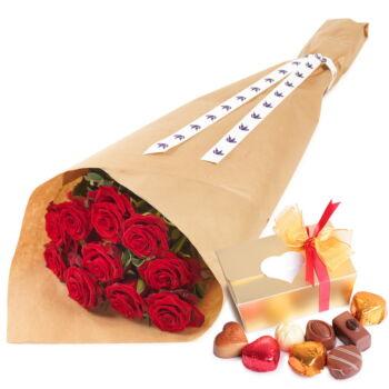 Rode rozen en chocolade